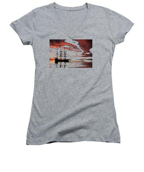 Pirate Ship At Sunset Women's V-Neck T-Shirt