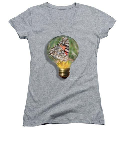 Butterfly In Lightbulb Women's V-Neck T-Shirt (Junior Cut) by Shane Bechler