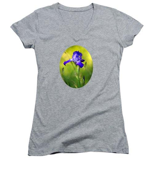 Violet Iris Women's V-Neck T-Shirt (Junior Cut) by Christina Rollo