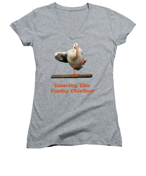 Dancing The Funky Chicken Women's V-Neck T-Shirt (Junior Cut) by Shane Bechler