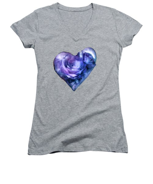 Heart Of A Rose - Lavender Blue Women's V-Neck T-Shirt (Junior Cut) by Carol Cavalaris