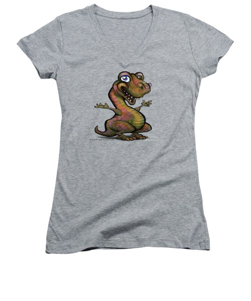 Baby T-rex Blue Women's V-Neck T-Shirt (Junior Cut) by Kevin Middleton