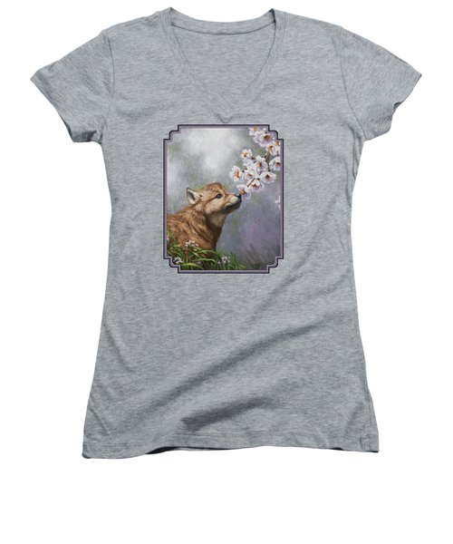 Wolf Pup - Baby Blossoms Women's V-Neck (Athletic Fit)
