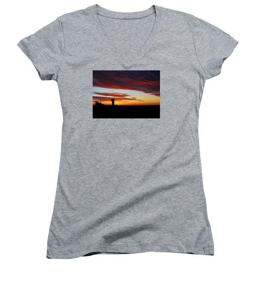 Women's V-Neck T-Shirt (Junior Cut) featuring the photograph Sunrise Over Golden Spike Tower by Bill Kesler