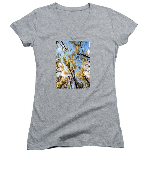 Looking Up Women's V-Neck T-Shirt (Junior Cut) by Bill Kesler