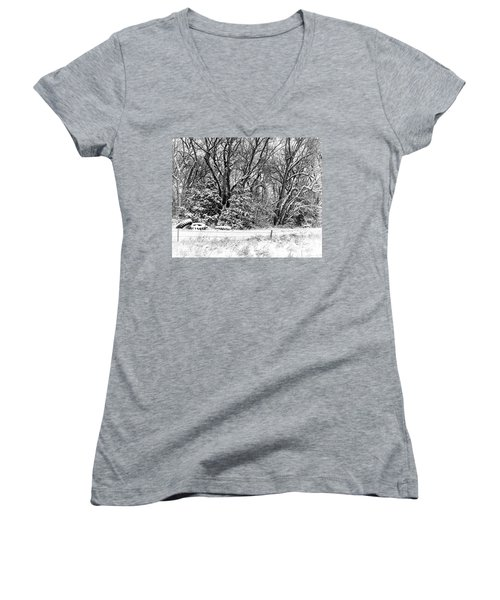 Women's V-Neck T-Shirt (Junior Cut) featuring the photograph Three Tires And A Snowstorm by Bill Kesler