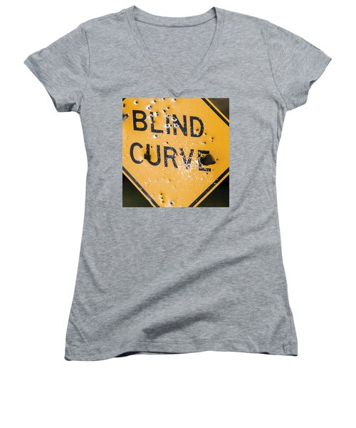Women's V-Neck T-Shirt (Junior Cut) featuring the photograph Blind Curve by Bill Kesler