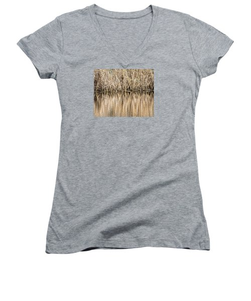 Golden Reed Reflection Women's V-Neck T-Shirt (Junior Cut) by Bill Kesler