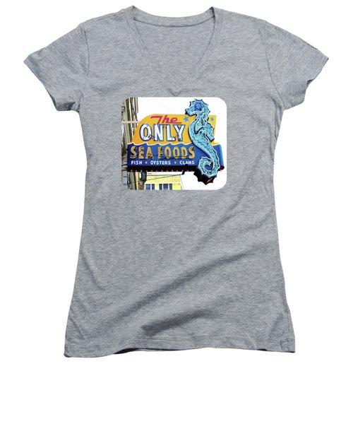 Cafe Sign Women's V-Neck T-Shirt (Junior Cut) by Ethna Gillespie