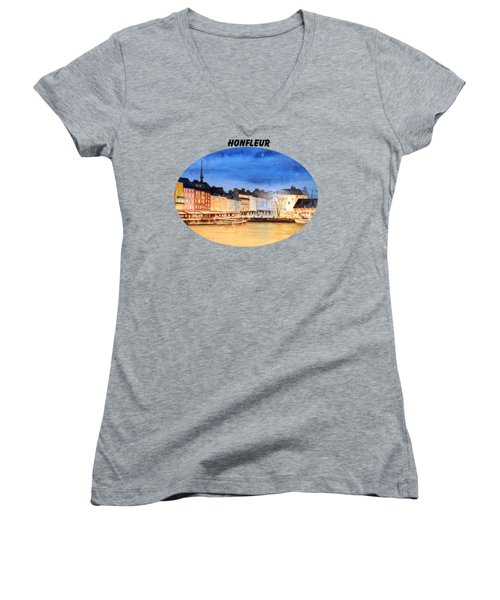 Honfleur  Evening Lights Women's V-Neck T-Shirt (Junior Cut) by Bill Holkham