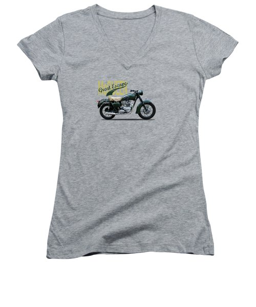 The Great Escape Motorcycle Women's V-Neck T-Shirt (Junior Cut) by Mark Rogan