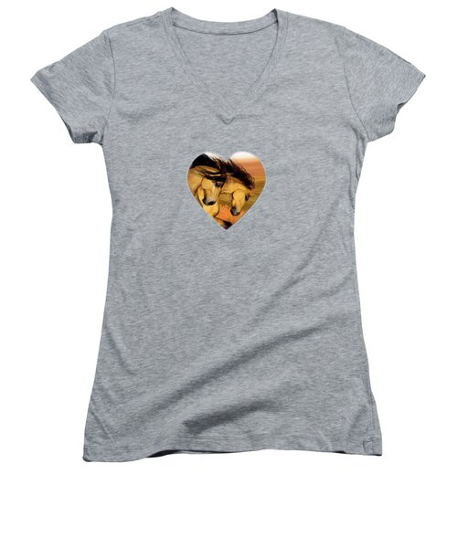 Women's V-Neck featuring the painting The Buckskins by Valerie Anne Kelly