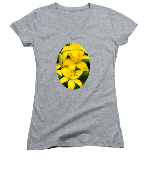 Yellow Lilies Women's V-Neck T-Shirt (Junior Cut) by Christina Rollo