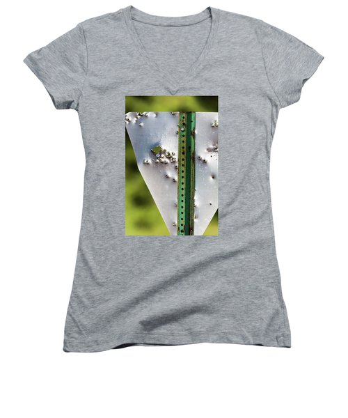 Bullet Hole Yield Women's V-Neck T-Shirt (Junior Cut) by Bill Kesler