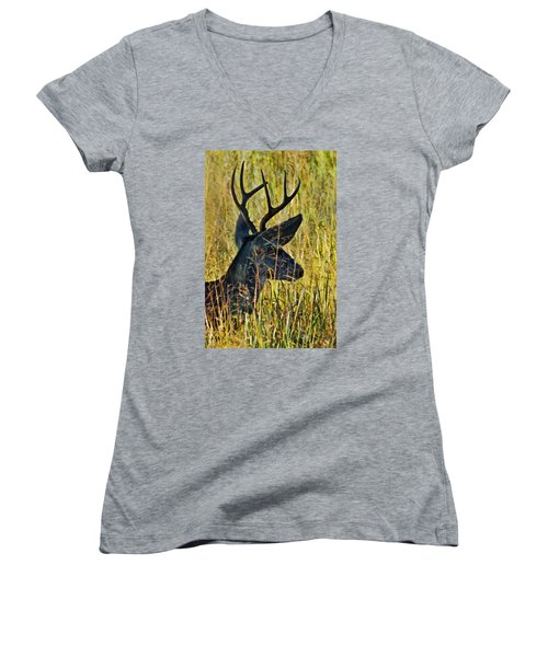 The Buck Rests Here Women's V-Neck T-Shirt (Junior Cut) by Bill Kesler
