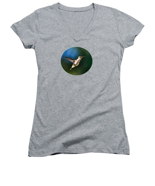 Ruby-throated Hummingbird And Pink Verbena Women's V-Neck T-Shirt (Junior Cut) by Christina Rollo