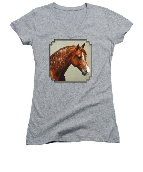 Morgan Horse - Flame Women's V-Neck T-Shirt (Junior Cut) by Crista Forest