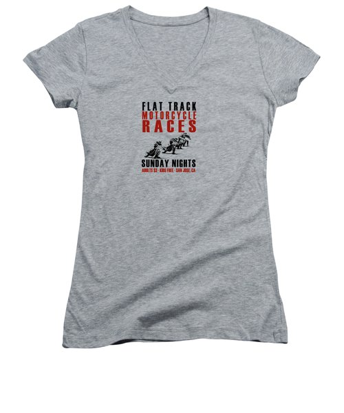 Flat Track Motorcycle Races Women's V-Neck (Athletic Fit)