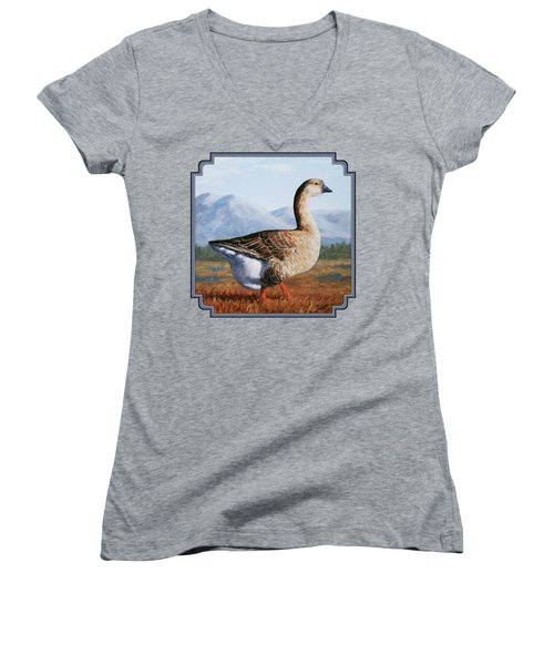 Brown Chinese Goose Women's V-Neck T-Shirt (Junior Cut) by Crista Forest