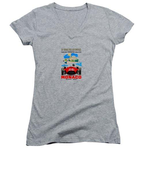 Monaco 1957 Women's V-Neck T-Shirt (Junior Cut) by Mark Rogan