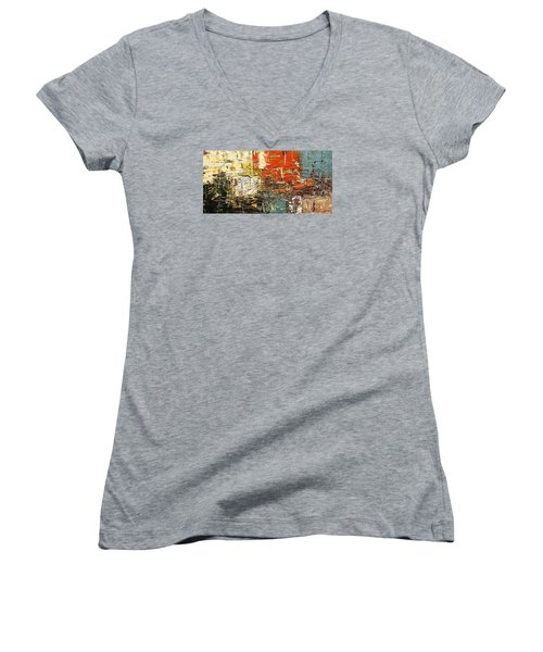 Women's V-Neck T-Shirt (Junior Cut) featuring the painting Artylicious by Carmen Guedez