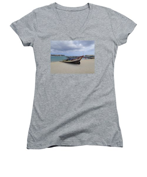 Aruba Beach Women's V-Neck T-Shirt (Junior Cut)