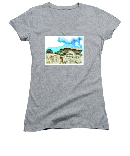 Arzachena Mushroom Rock Women's V-Neck T-Shirt