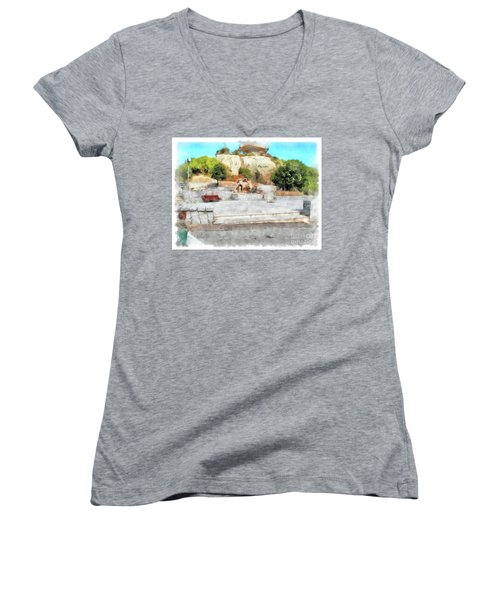 Arzachena Mushroom Rock With Children Women's V-Neck T-Shirt