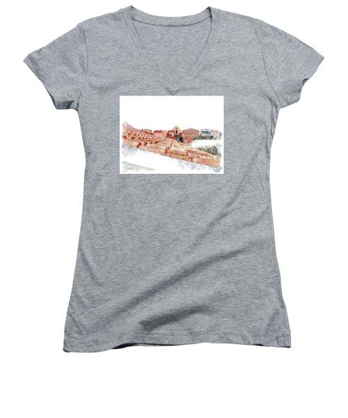 Arzachena Roof And Church Women's V-Neck T-Shirt