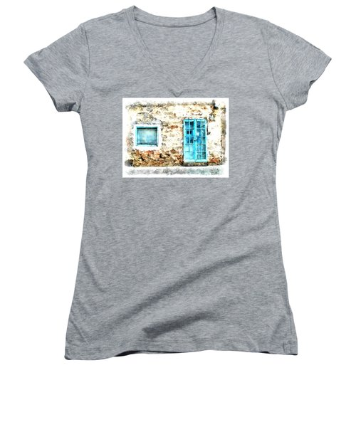 Arzachena Window And Blue Door Store Women's V-Neck T-Shirt