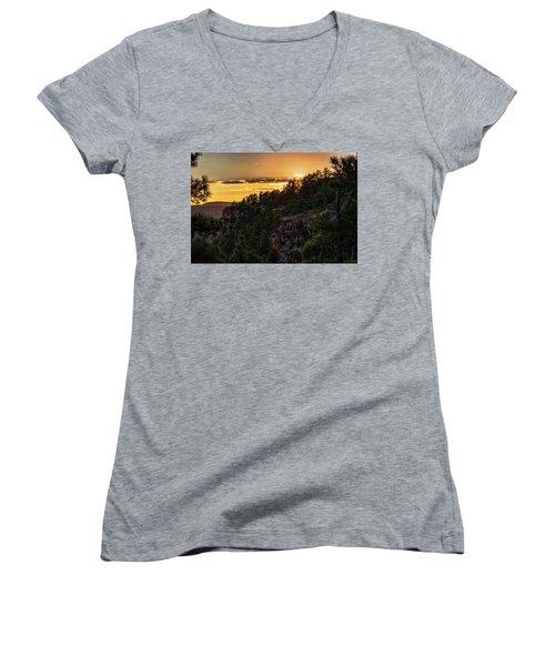 Women's V-Neck T-Shirt featuring the photograph As The Sun Sets On The Rim  by Saija Lehtonen