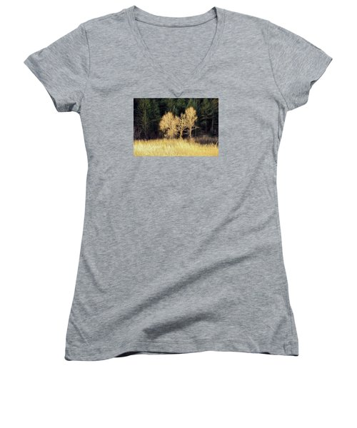 Women's V-Neck T-Shirt (Junior Cut) featuring the photograph As The Sunset's by James Steele
