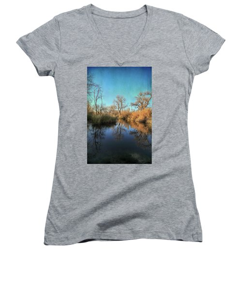 Women's V-Neck T-Shirt (Junior Cut) featuring the photograph As We Taked About The Year by Laurie Search