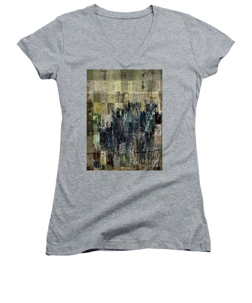 Women's V-Neck T-Shirt (Junior Cut) featuring the painting Ascension - C03xt-159at2c by Variance Collections