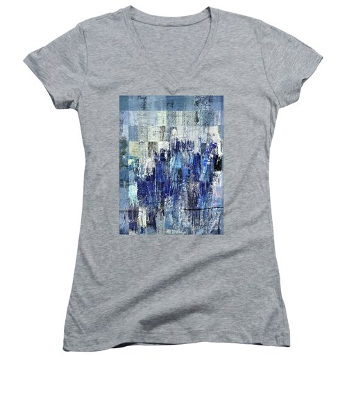 Women's V-Neck T-Shirt (Junior Cut) featuring the digital art Ascension - C03xt-160at2c by Variance Collections