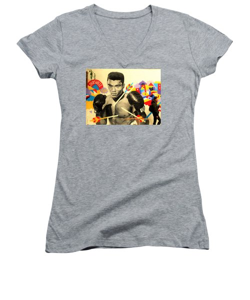 Asian Woman By Mohamed Ali In Brooklyn New York Women's V-Neck T-Shirt (Junior Cut) by Funkpix Photo Hunter