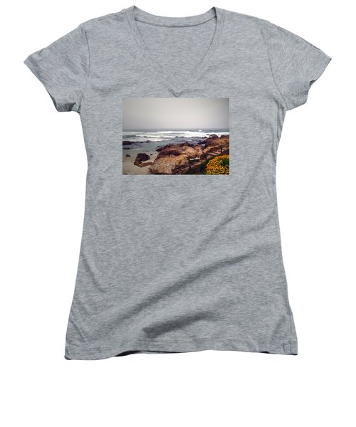 Asilomar Beach Pacific Grove Ca Usa Women's V-Neck (Athletic Fit)