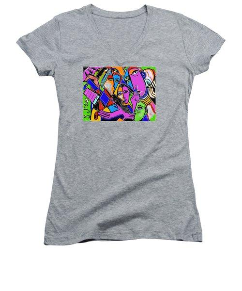 Asking A Fool Women's V-Neck T-Shirt (Junior Cut) by Hans Magden