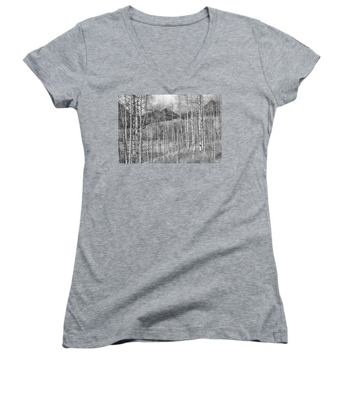 Women's V-Neck T-Shirt (Junior Cut) featuring the photograph Aspen Ambience Monochrome by Eric Glaser