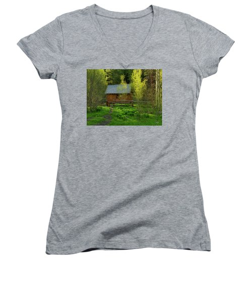 Aspen Cabin Women's V-Neck T-Shirt (Junior Cut) by Leland D Howard