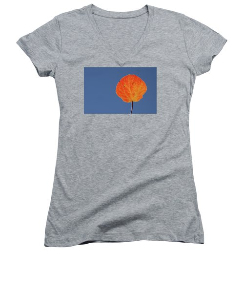 Women's V-Neck T-Shirt (Junior Cut) featuring the photograph Aspen Leaf 1 by Marie Leslie