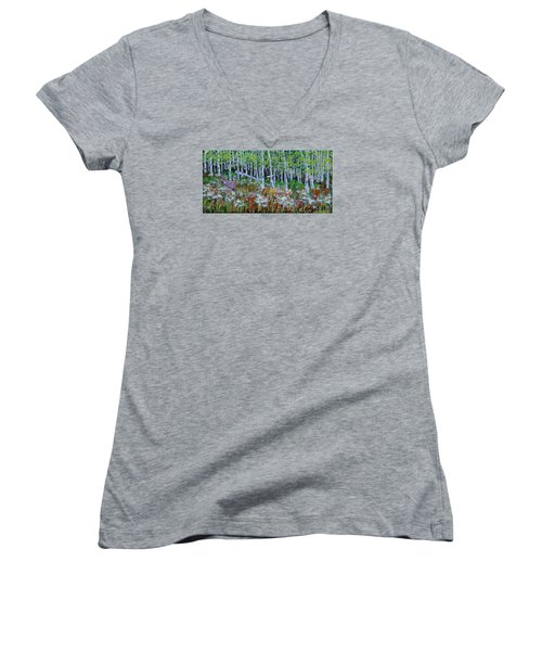 Aspens And Wildflowers Women's V-Neck T-Shirt (Junior Cut) by Mike Caitham