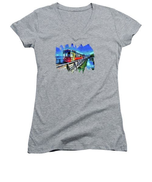 Astoria Riverfront Trolley Women's V-Neck T-Shirt (Junior Cut) by Thom Zehrfeld