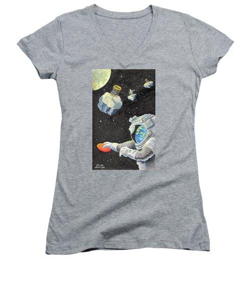 Astronaut Disc Golf Women's V-Neck T-Shirt
