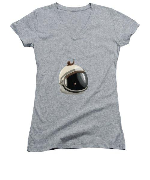 Astronaut's Helmet Women's V-Neck T-Shirt