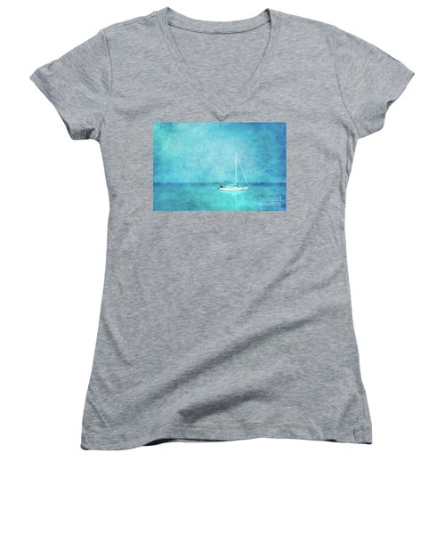 Women's V-Neck T-Shirt (Junior Cut) featuring the mixed media At Anchor by Betty LaRue