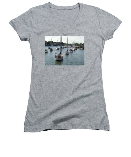 Women's V-Neck T-Shirt (Junior Cut) featuring the photograph At Anchor by Charles Kraus