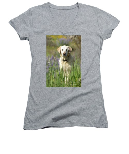 Women's V-Neck T-Shirt (Junior Cut) featuring the photograph At Attention by Jim and Emily Bush