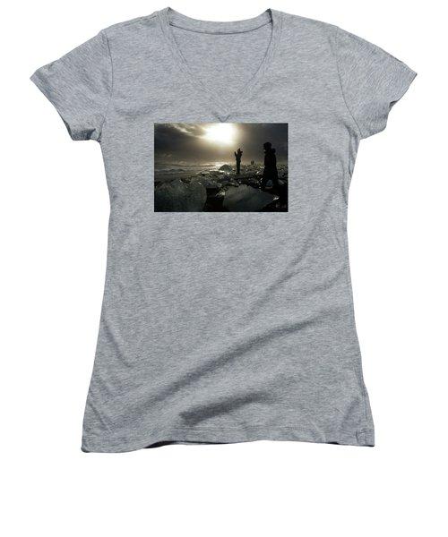Women's V-Neck T-Shirt featuring the photograph The Diamond Beach, Jokulsarlon, Iceland by Dubi Roman
