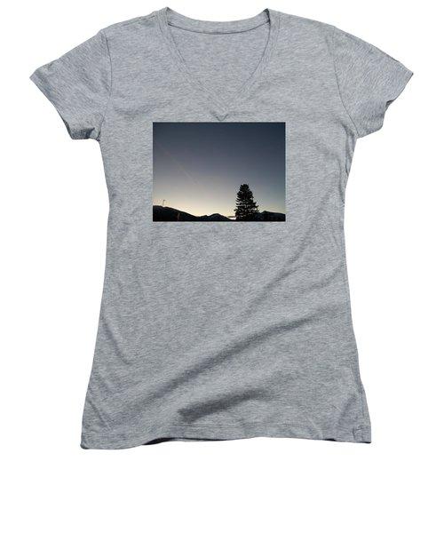 Women's V-Neck T-Shirt (Junior Cut) featuring the photograph At Dusk by Jewel Hengen